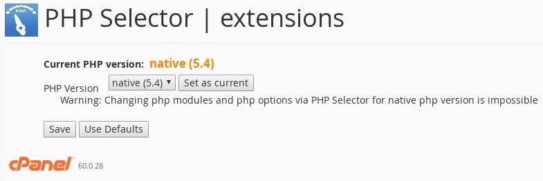 cPanel - PHP Selector - extensions - choose your PHP version