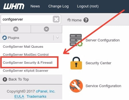 ConfigServer Security and Firewall cPanel Plugin