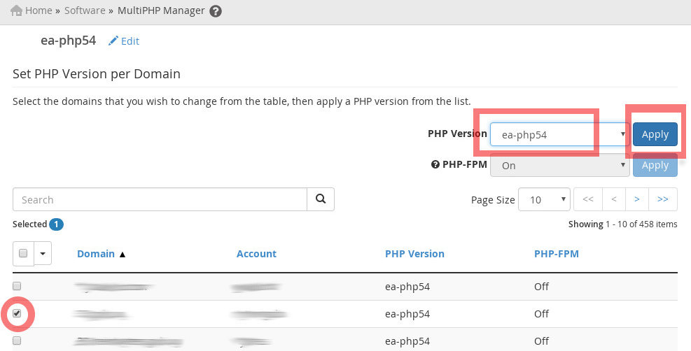 Screenshot of How to Select a php version from MultiPHP Manager Interface on WHM