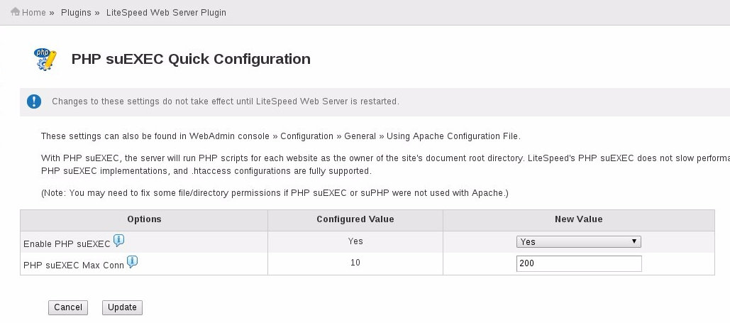 Enable PHP Suexec - LSWS cPanel Plugin