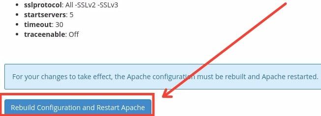 WHM » Service Configuration » Apache Configuration - Rebuild Apache and Restart