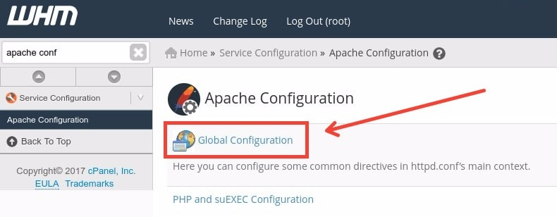 Fig. 01. WHM » Service Configuration » Apache Configuration