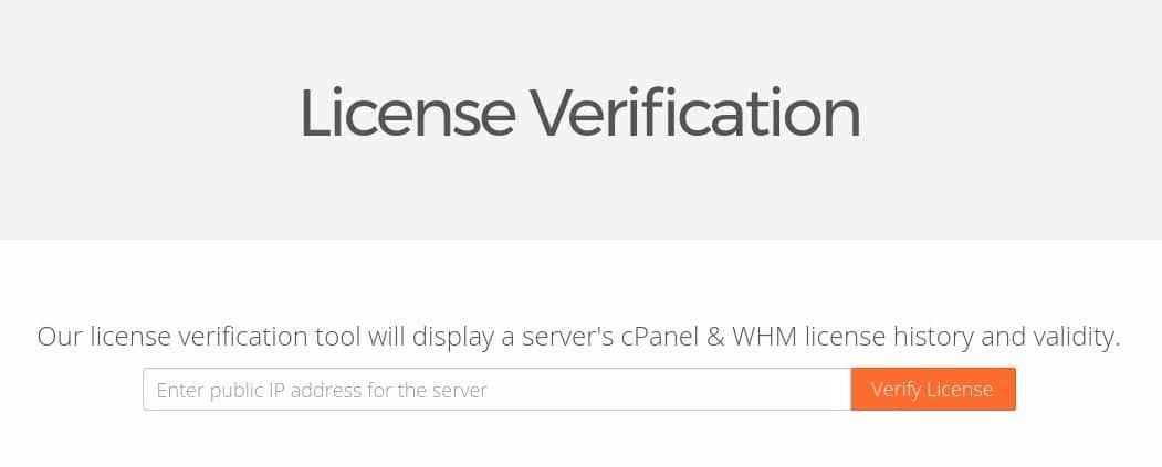 cPanel & WHM License Verification